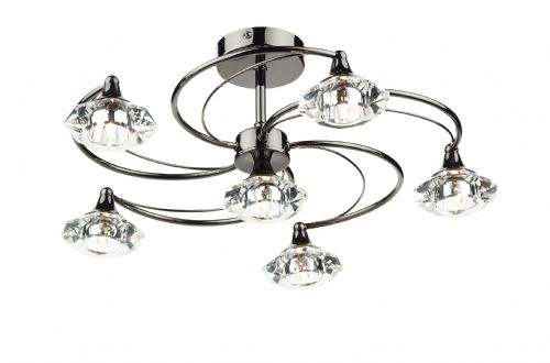 Dar Luther 6 Light Semi Flush complete with Crystal Glass Black Chrome LUT0667